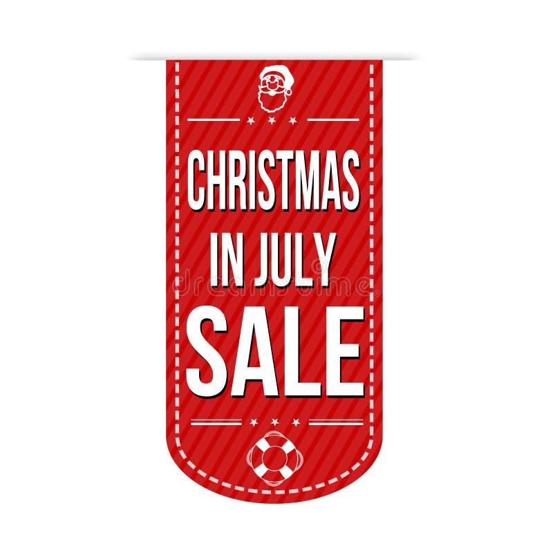 Рождество в дизайне знамени продажи в июле иллюстрация вектора