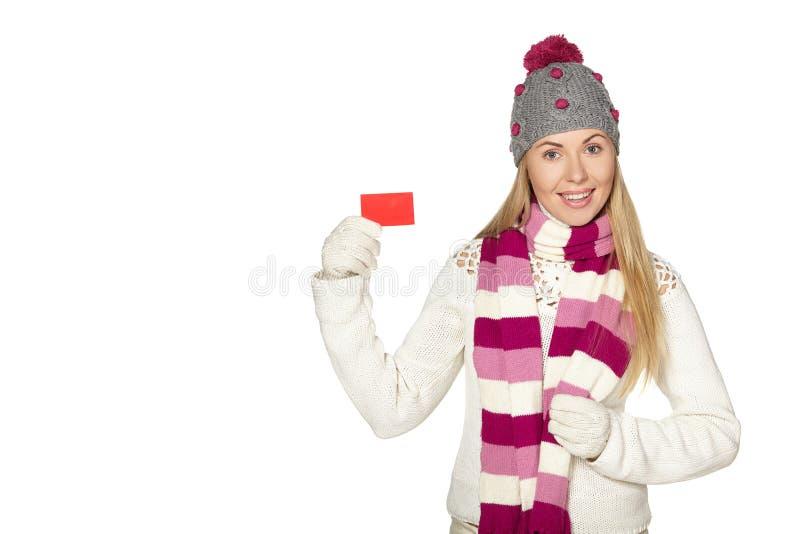 Рождество, зима, красивая женщина в шляпе зимы стоковое фото rf