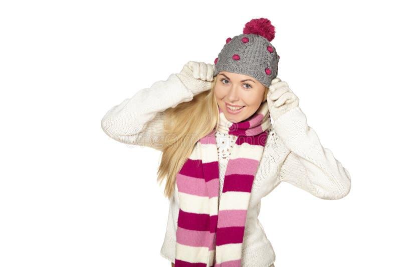 Рождество, зима, красивая женщина в шляпе зимы стоковые изображения rf