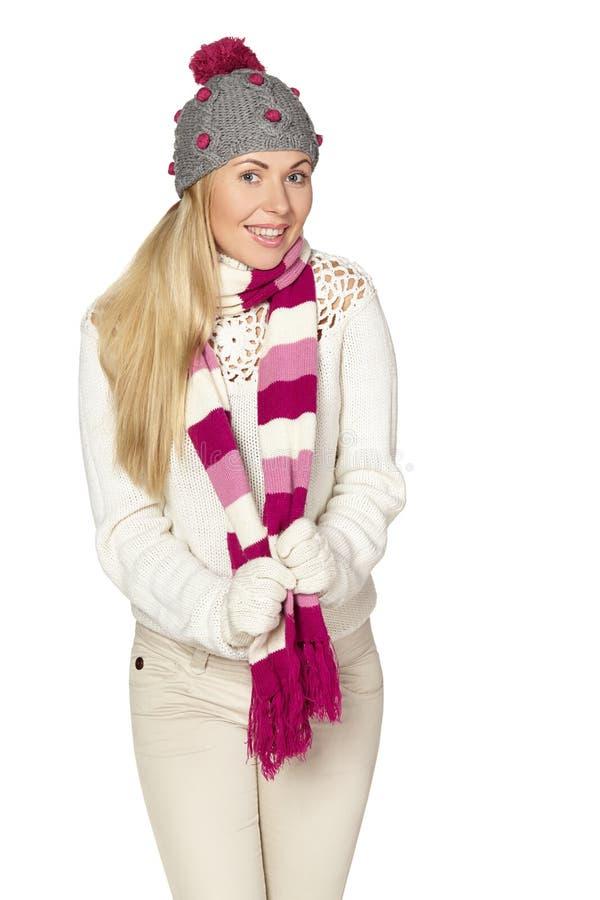 Рождество, зима, красивая женщина в шляпе зимы стоковая фотография
