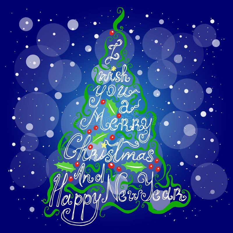 Download Рождество литерности, Новый Год, рождественская елка Иллюстрация вектора - иллюстрации насчитывающей снежок, приглашение: 81802958