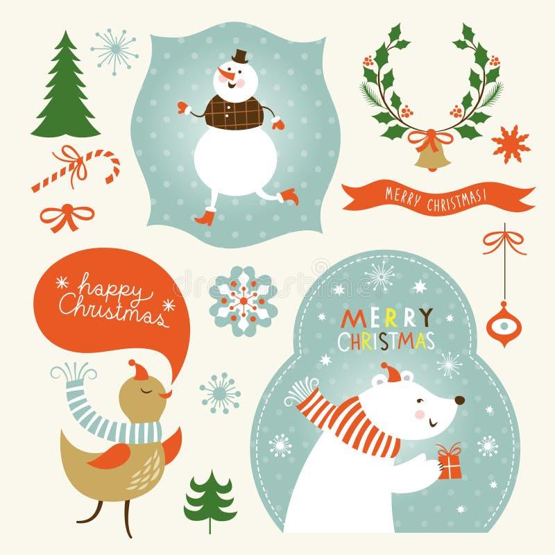 Рождество и Новые Годы элементов графика иллюстрация вектора