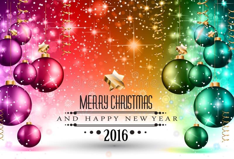 Рождество 2016 и счастливая рогулька партии Нового Года иллюстрация штока