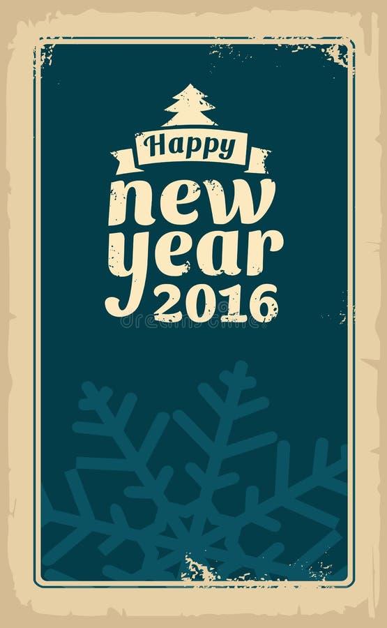 Рождество и счастливый Новый Год 2016 Vector винтажная иллюстрация для поздравительной открытки, плаката, flayer, сети, знамени С бесплатная иллюстрация