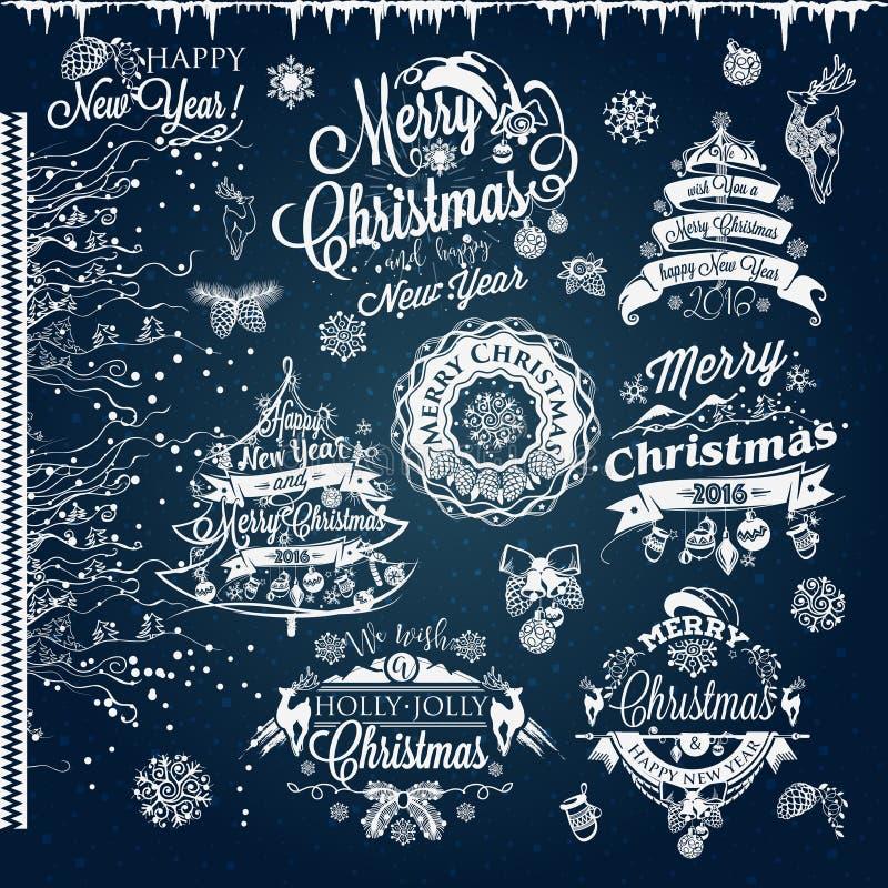 Рождество и ярлыки и границы Нового Года бесплатная иллюстрация