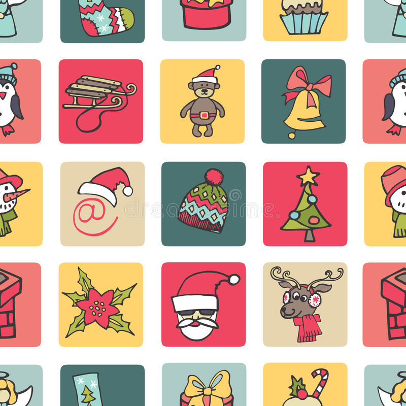 Рождество, картина кнопки значков Нового Года безшовная иллюстрация вектора