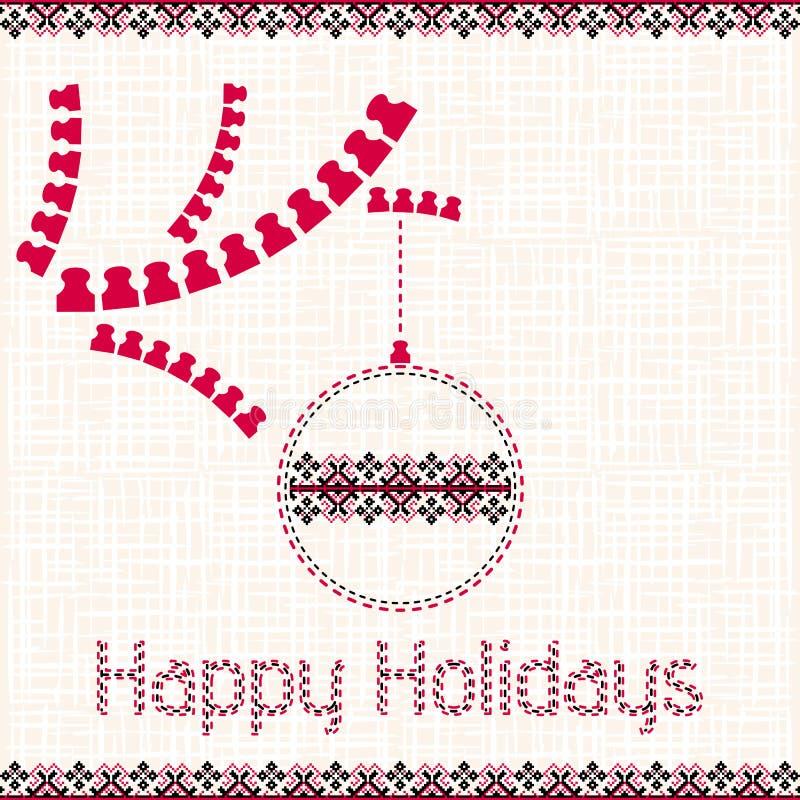 Рождество, карточка Нового Года с элементами вышивки иллюстрация вектора