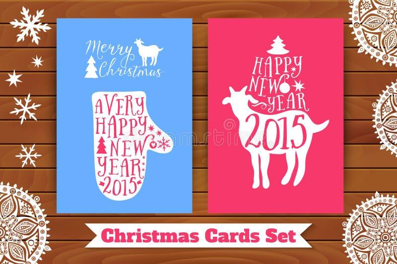 рождество карточки предпосылок делает по образцу безшовный комплект Коза и mitten с элементами литерности, на столешнице Украшенн иллюстрация вектора