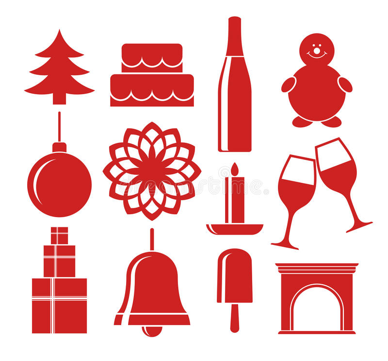 Рождество Комплект значка иллюстрация вектора