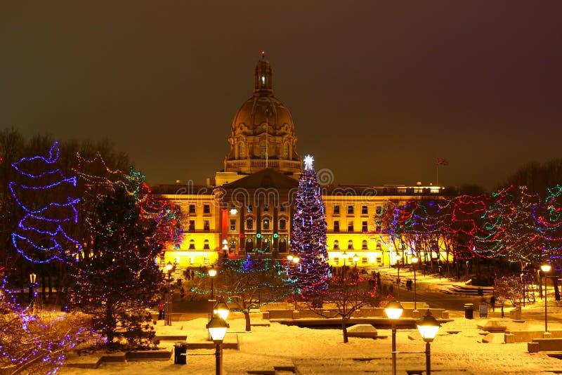 Рождество на законодательой власти Альберты стоковые изображения
