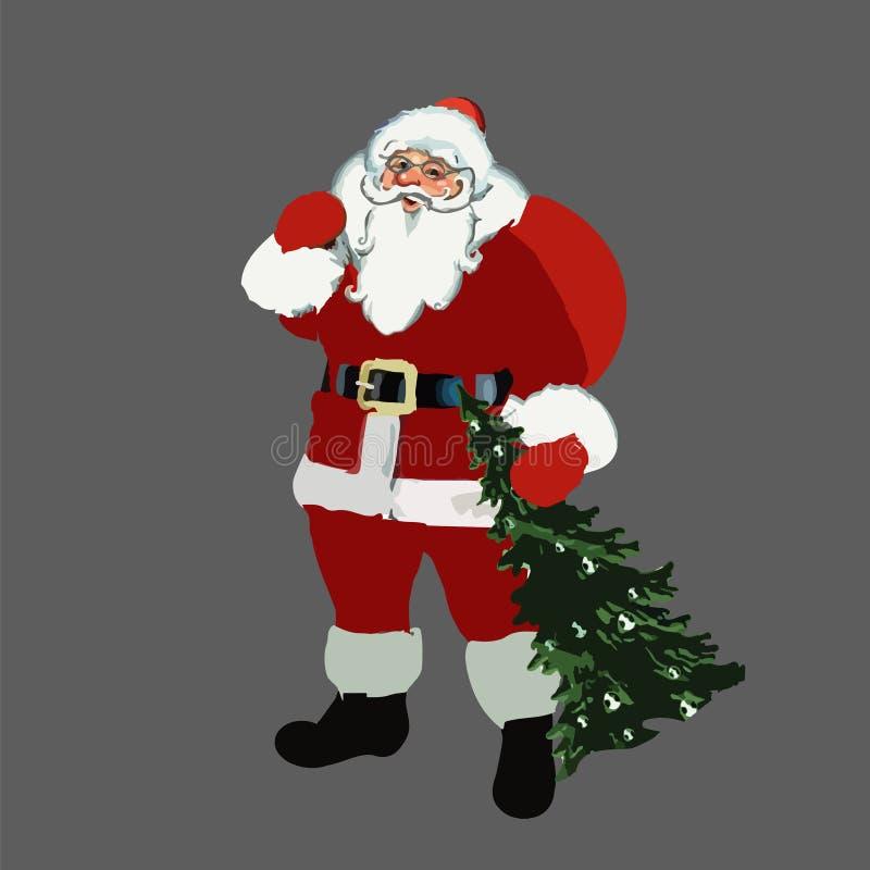 2017 Рождество Новый Год Санта Клаус с сумкой на его плечах и деревом в руке вектор иллюстрация штока
