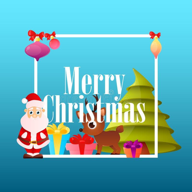 Рождество плаката с Санта Клаусом иллюстрация штока