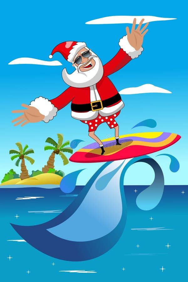 Рождество Санта Клаус занимаясь серфингом тропическое море иллюстрация штока