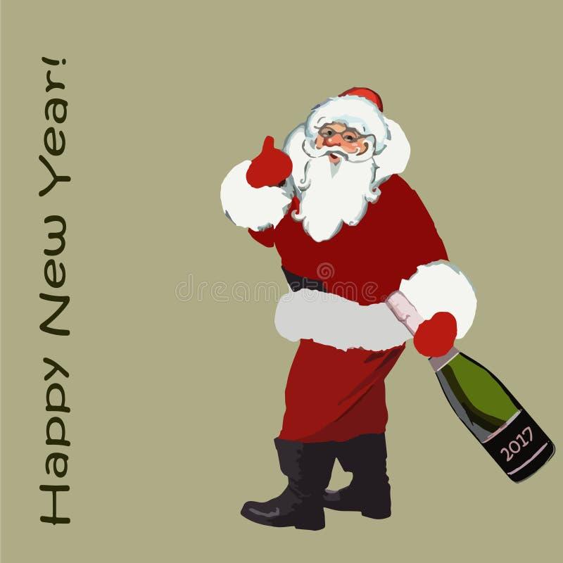 2017 Рождество Санта Клаус с бутылкой шампанского в руке и Новом Годе надписи счастливом вектор иллюстрация штока