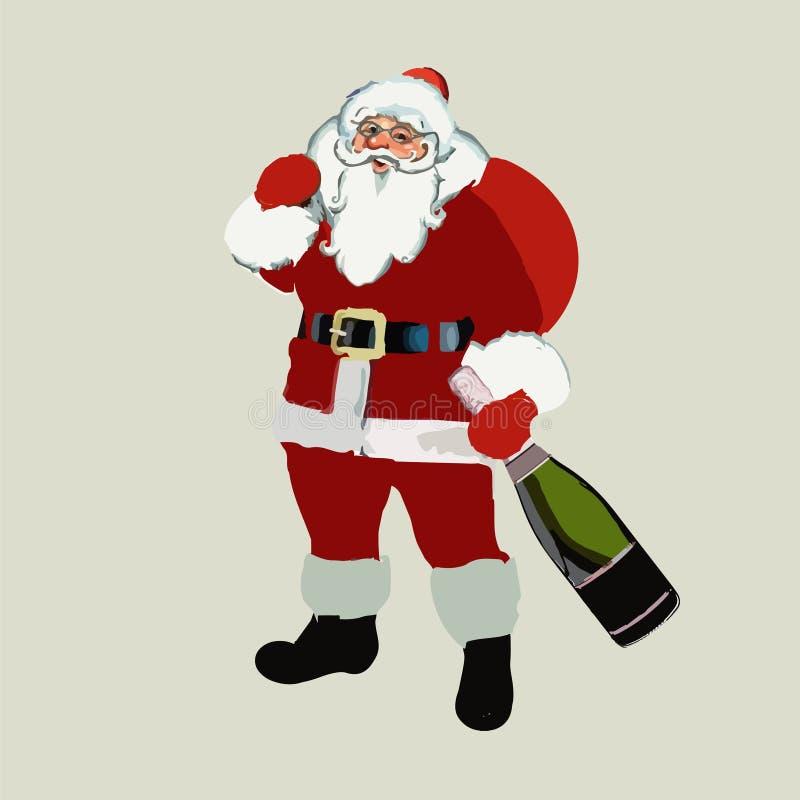 2017 Рождество Санта Клаус с бутылкой шампанского в руке Новый Год вектор иллюстрация штока
