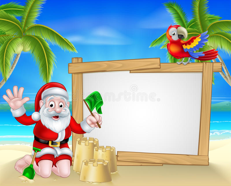 Рождество Санта пляжа иллюстрация штока