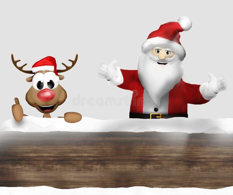 Рождество Санта Woden и северный олень иллюстрация вектора