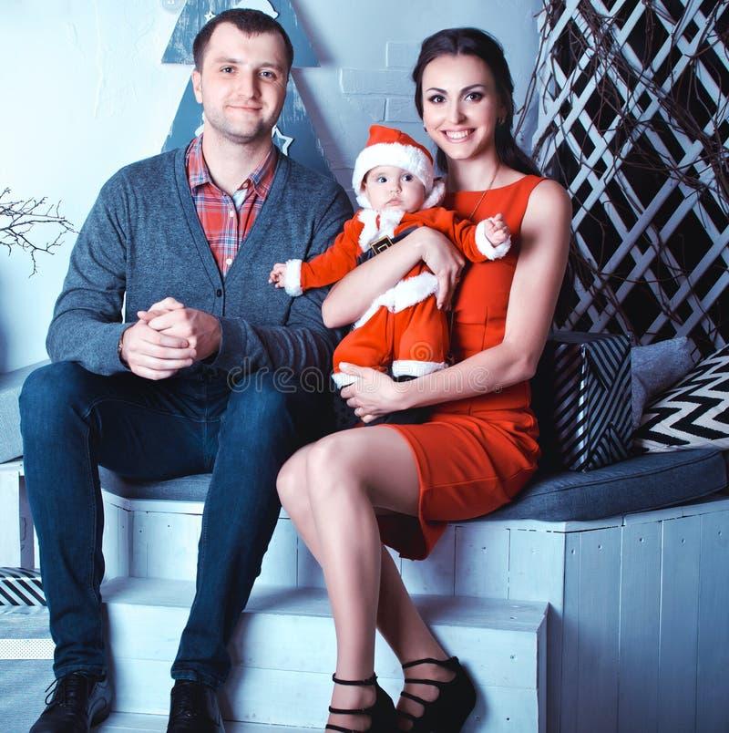 Рождество семьи ждать стоковая фотография