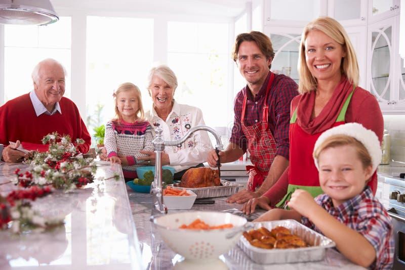 Рождество Турция группы семьи из нескольких поколений наметывая в кухне стоковые фотографии rf