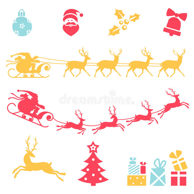 рождество украсило вал икон шерсти Сани Санта Клауса иллюстрация вектора