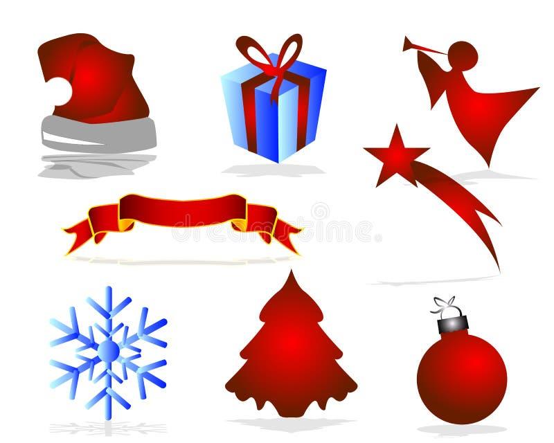 рождество украсило вал икон шерсти иллюстрация штока