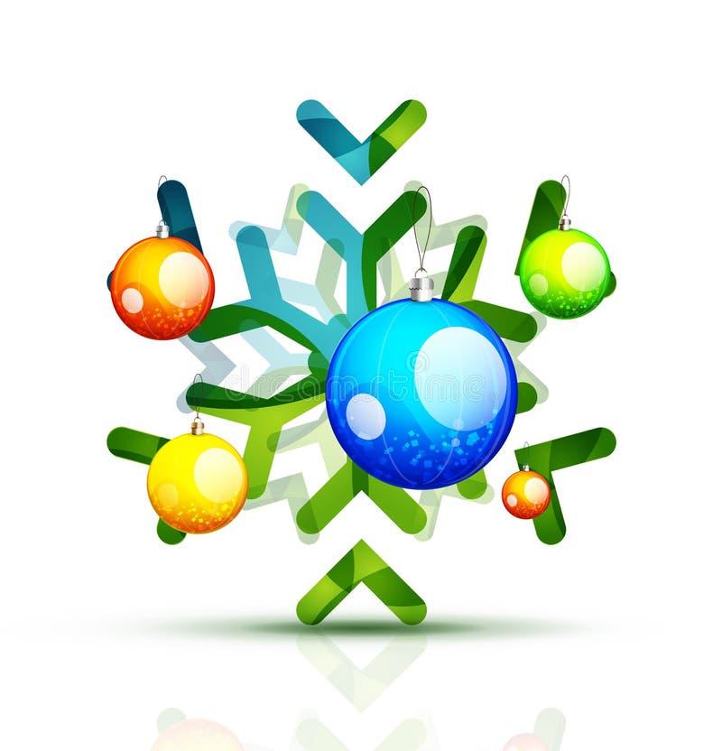 Рождество украсило современную снежинку иллюстрация вектора