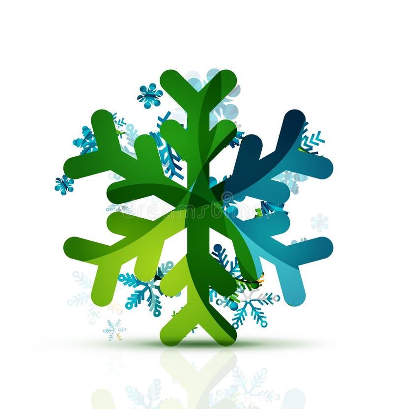 Рождество украсило современный значок снежинки бесплатная иллюстрация