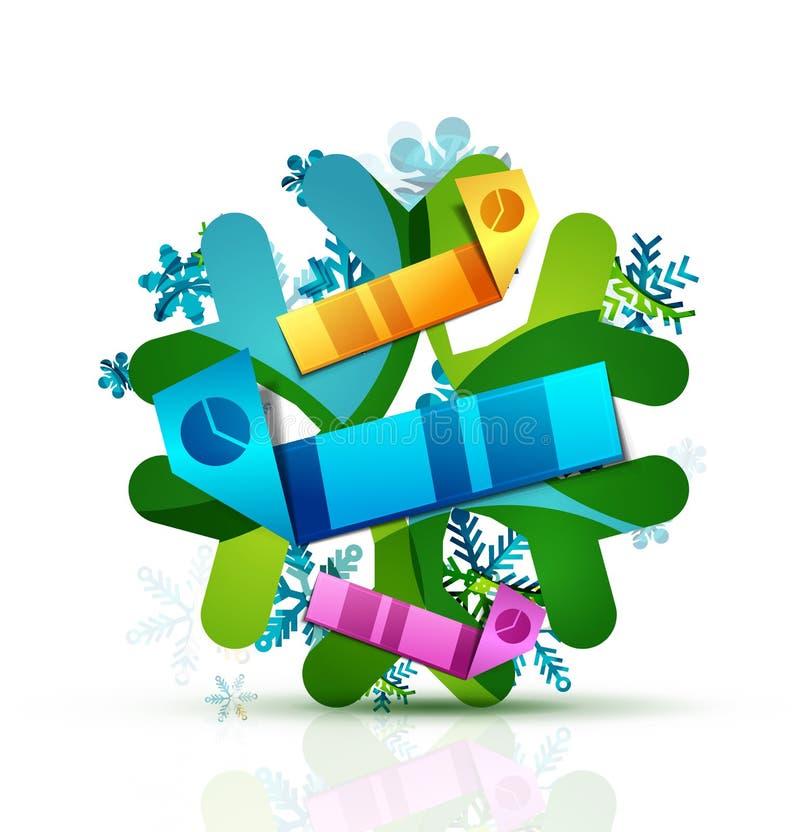 Рождество украсило современный значок снежинки иллюстрация штока