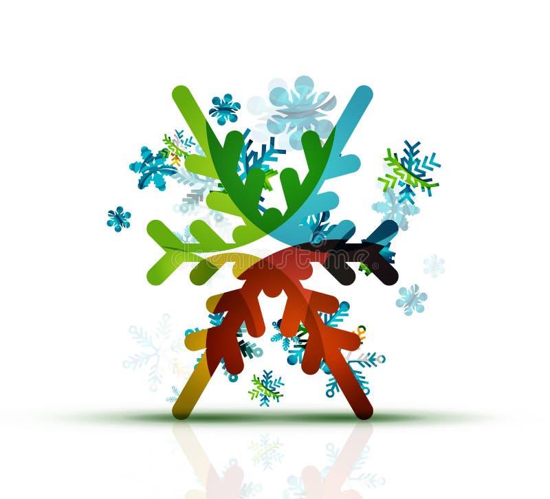 Рождество украсило современный значок снежинки иллюстрация вектора