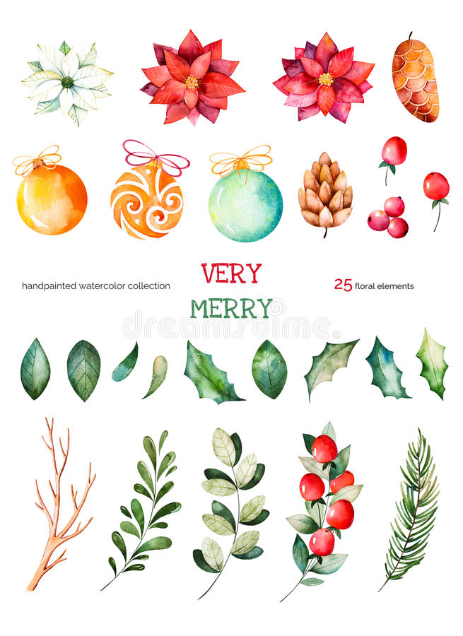 Рождество установленное с handpainted clipart 25 иллюстрация вектора