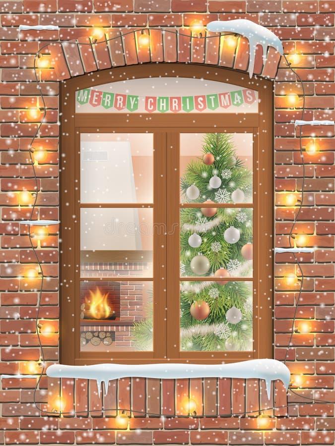 Рождество через окно иллюстрация штока