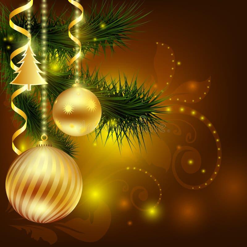 рождество шариков украшает к валу Новый Год предпосылки шток бесплатная иллюстрация