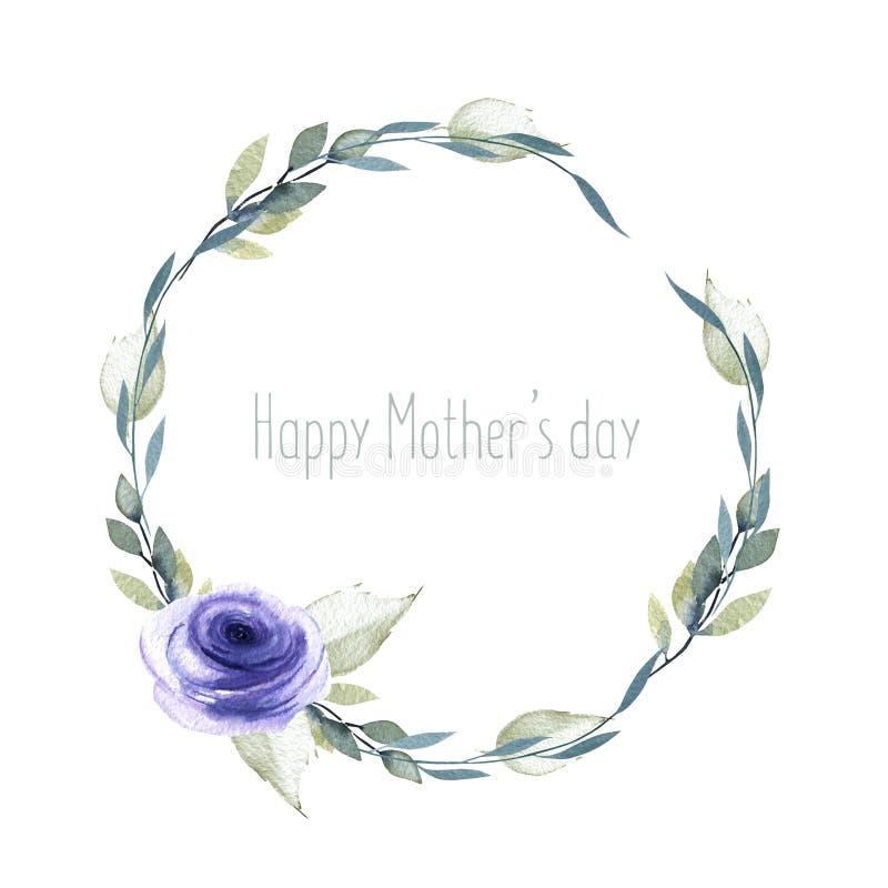 Роза сини акварели и ветви венок, шаблон поздравительной открытки, рука покрашенная на белой предпосылке бесплатная иллюстрация