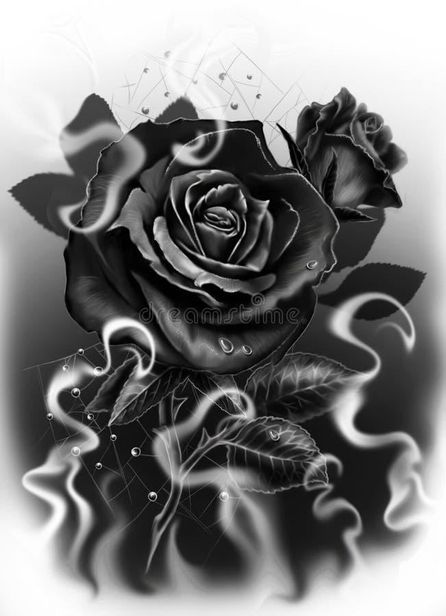Роза черноты в черно-белом стоковое изображение