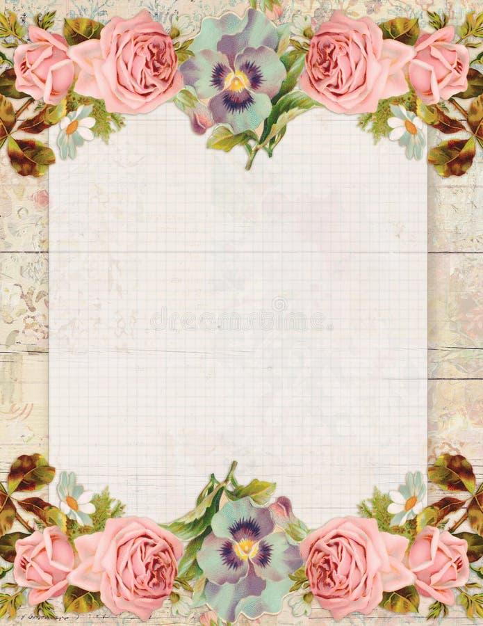 Роза Printable винтажного затрапезного шикарного стиля флористическая неподвижная на деревянной предпосылке бесплатная иллюстрация