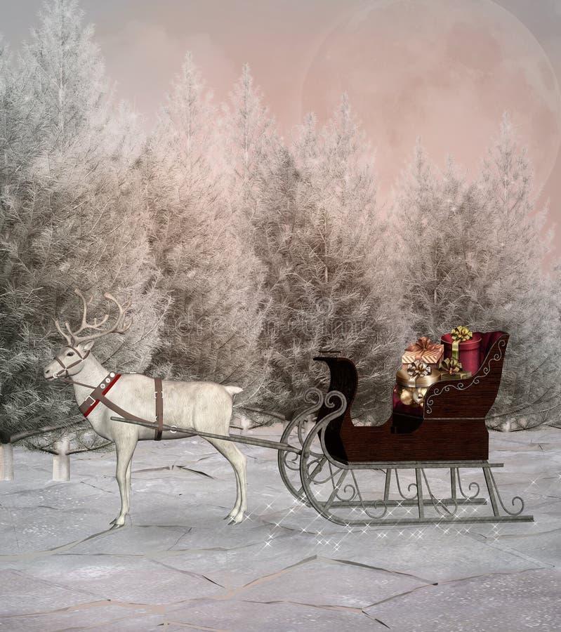 Розвальни рождества и свой белый северный олень в пейзаже зимы бесплатная иллюстрация