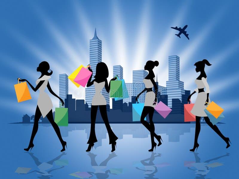 Розничные продажи и взрослые выставок женщин ходя по магазинам иллюстрация вектора