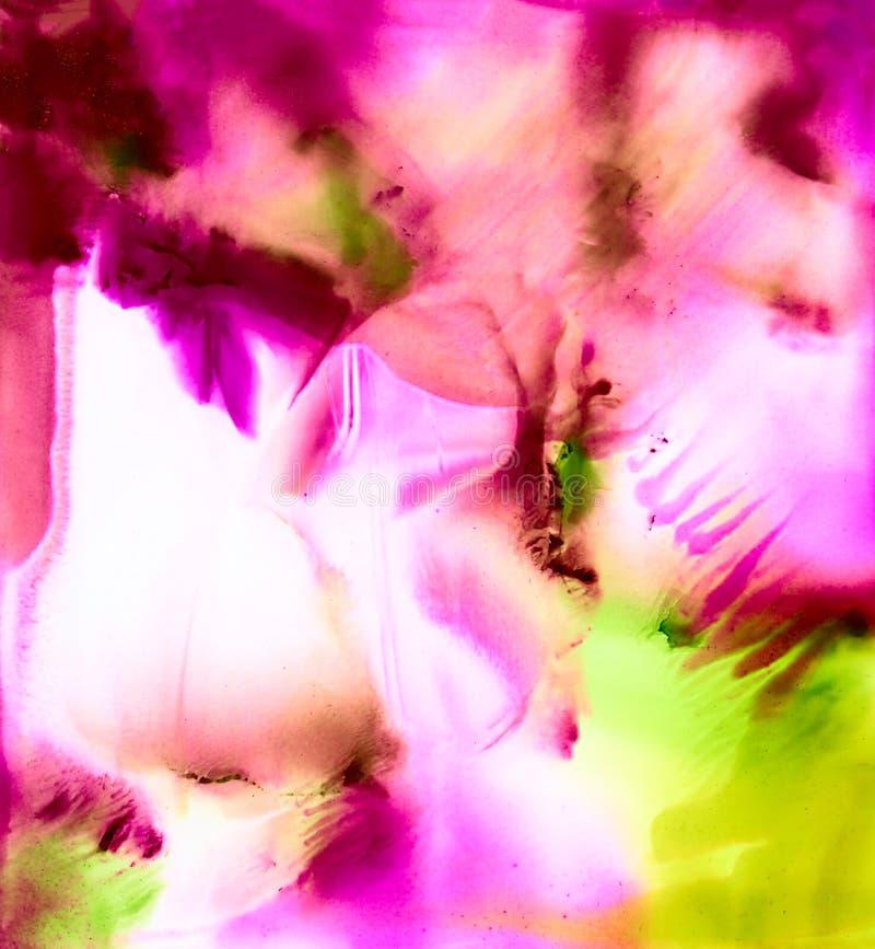 Розовая абстрактной краски яркая и зеленая smudged печать иллюстрация вектора