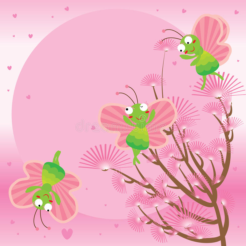 Розовая бабочка луны иллюстрация штока