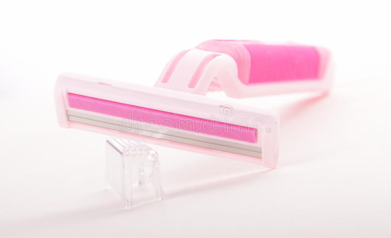розовая белизна бритвы стоковое изображение