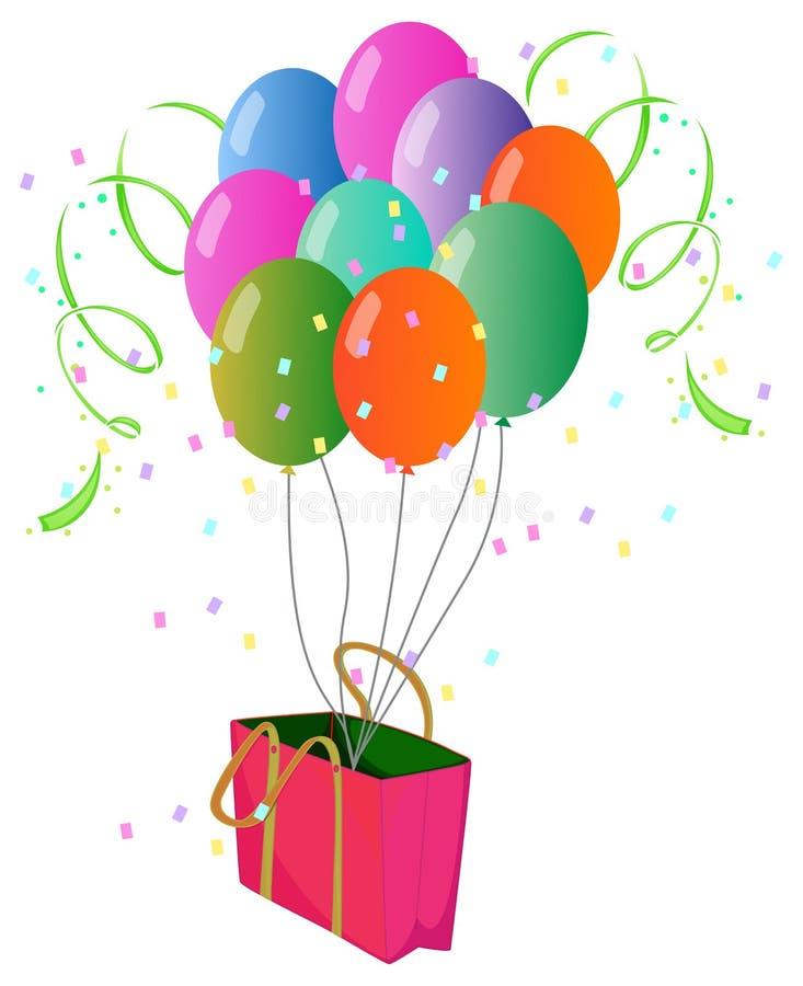 Розовая бумажная сумка с воздушными шарами иллюстрация штока