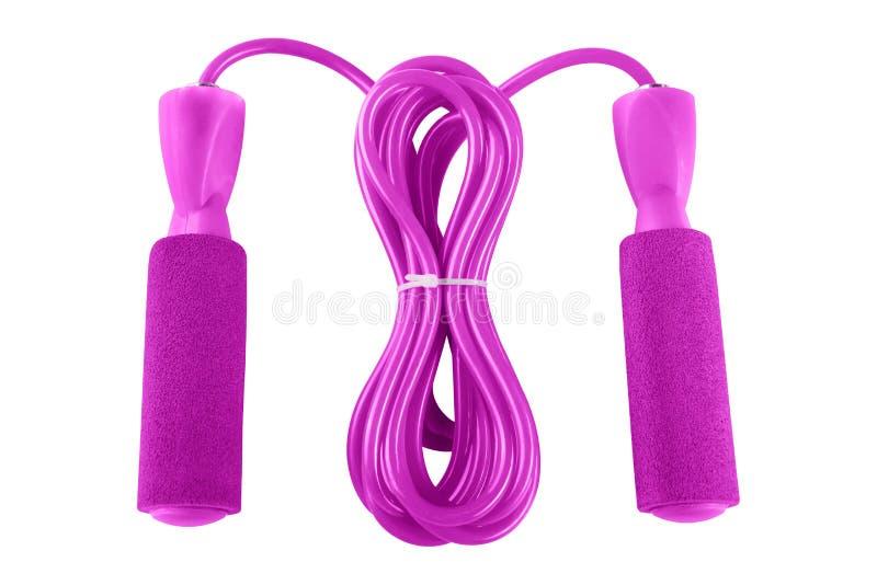 Розовая веревочка скачки неопрена для фитнеса, с подшипником, на белой предпосылке стоковое изображение