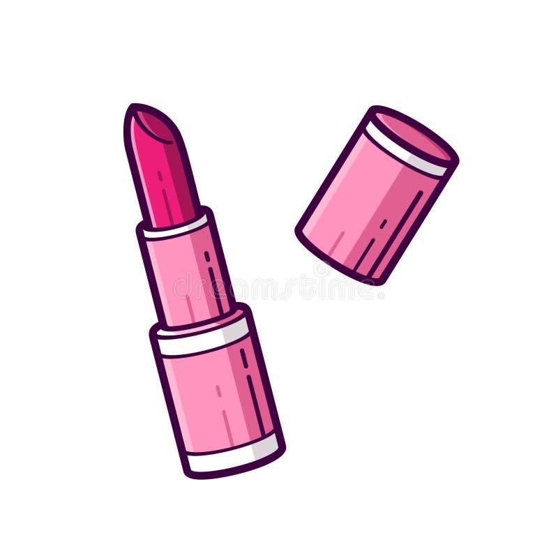 Розовая губная помада в линии стиле искусства зацепляет икону бесплатная иллюстрация