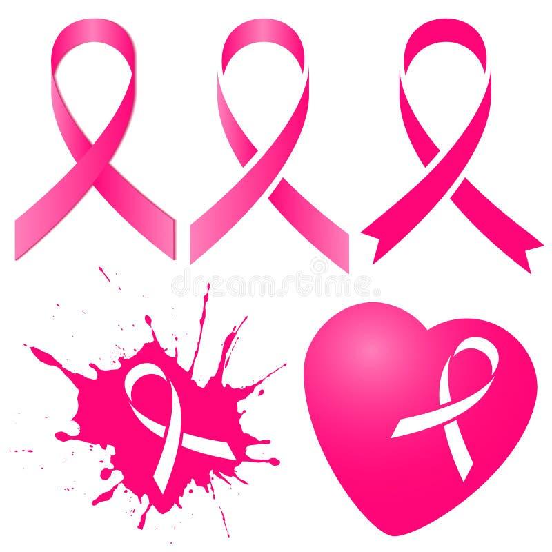 Розовая лента в 5 изменениях Месяц осведомленности рака молочной железы стоковая фотография