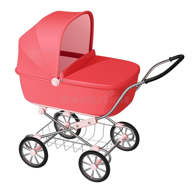 Розовая детская дорожная коляска - вашгерд для newborn девушки бесплатная иллюстрация