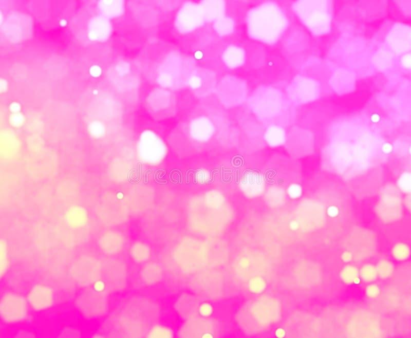 Розовая затеняя предпосылка bokehs пентагона иллюстрация штока
