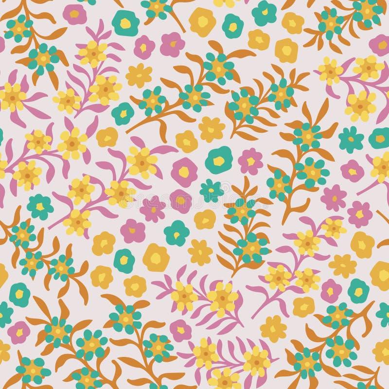 Розовая зацветая предпосылка цветочного узора луга безшовная мелкомасштабная иллюстрация вектора