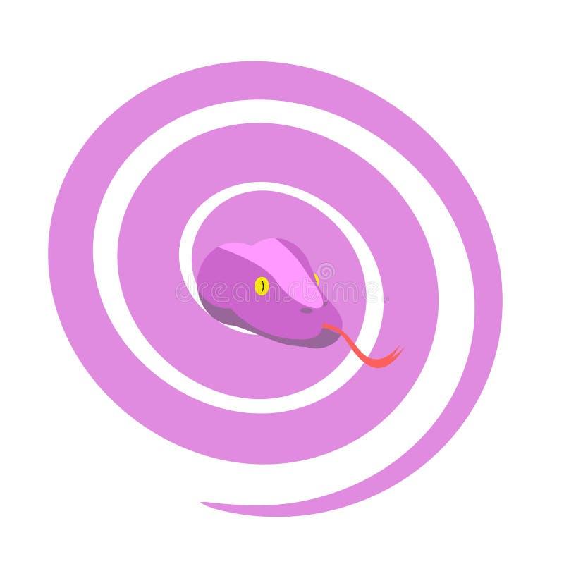 Розовая змейка Опасный женский гад завил вверх в шарик Vect иллюстрация вектора