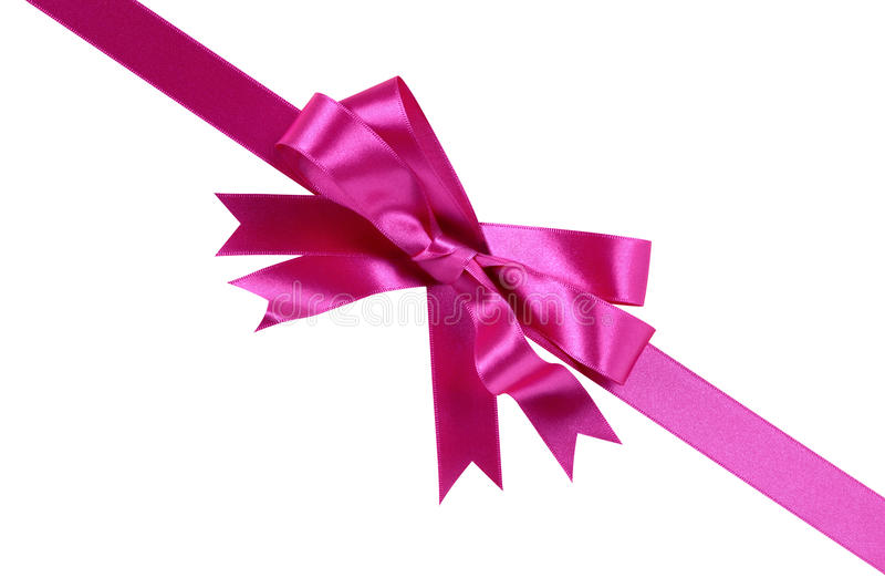 Розовая диагональ угла смычка ленты подарка изолированная на белой предпосылке стоковое изображение rf