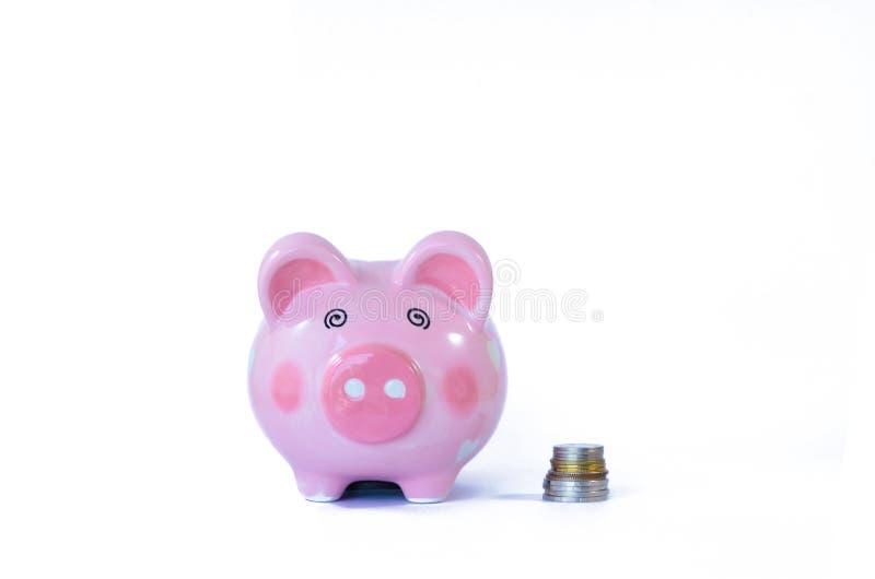 Розовая изолированные копилка и монетки на белизне стоковое фото rf